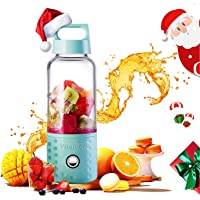 Portable Juice Blenders for Smoothie USB Rechargeable Mini Juicer Machines Extractor Household Fruit Mixer Small Cup 16oz Personal Travel Outdoors (Blue Pink White)