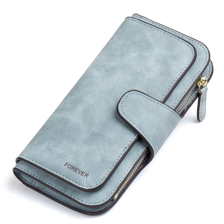 Gr8life Damen Vintage Geldbörse, Lange Portemonnaie mit Große Kapazität, Elegante und Süße Damen Geldbeutel Blau
