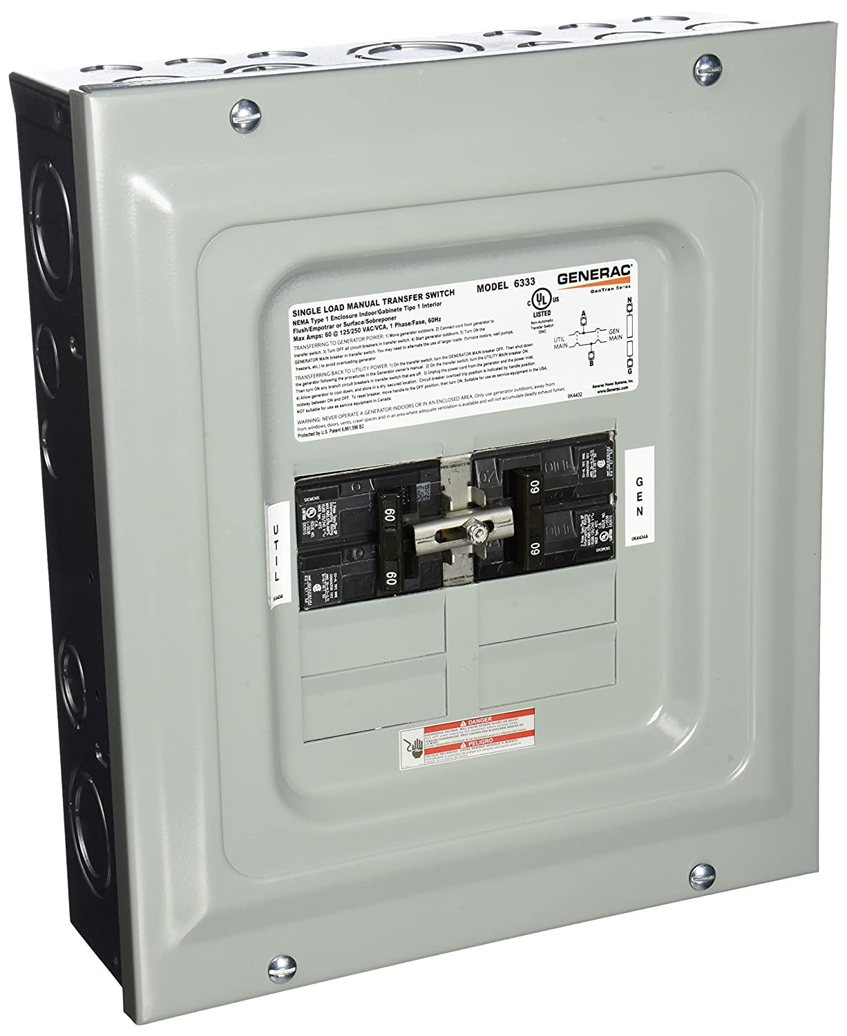 Amazon generac 6333 60 amp single load double pole manual amazon generac 6333 60 amp single load double pole manual transfer switch for portable generators garden outdoor publicscrutiny