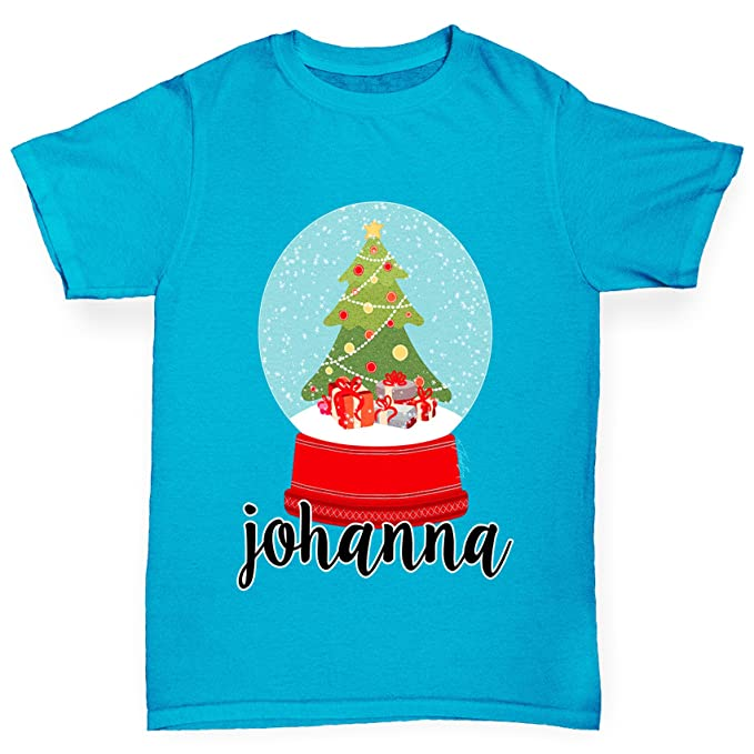 boys personalised christmas snow globe cotton t shirt comfortable and soft classic tee with