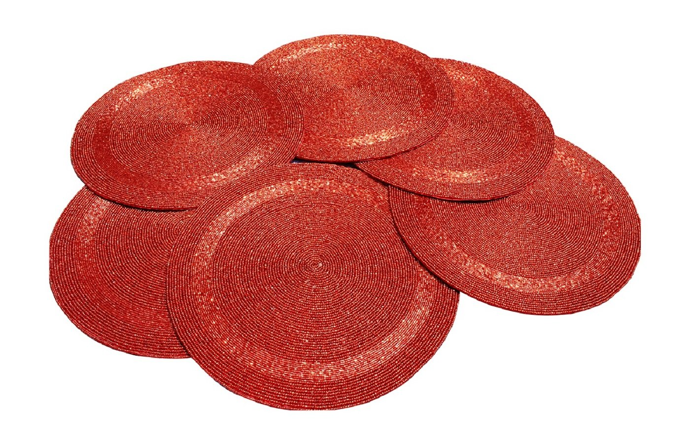 Red Tabletop Decor Glass Beads Braided Round Placemats ,Set of 6
