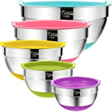 Mixing Bowls with Airtight Lids, Wildone Stainless Steel Nesting Mixing Bowls Set of 5, with Non-Slip Colorful Silicone…