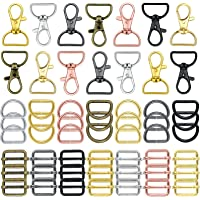 56 Pieces Keychain Hooks with D Rings Set Purse Hardware Lanyard Snap Hooks Multicolor Metal Swivel Clasps with D Rings…