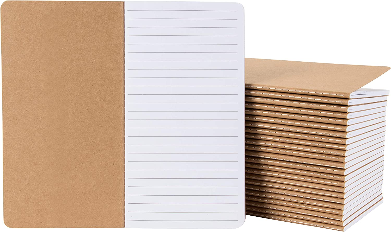 Kraft Paper Notebook, Blank Lined Journal (4 x 8 in, 24 Pack)