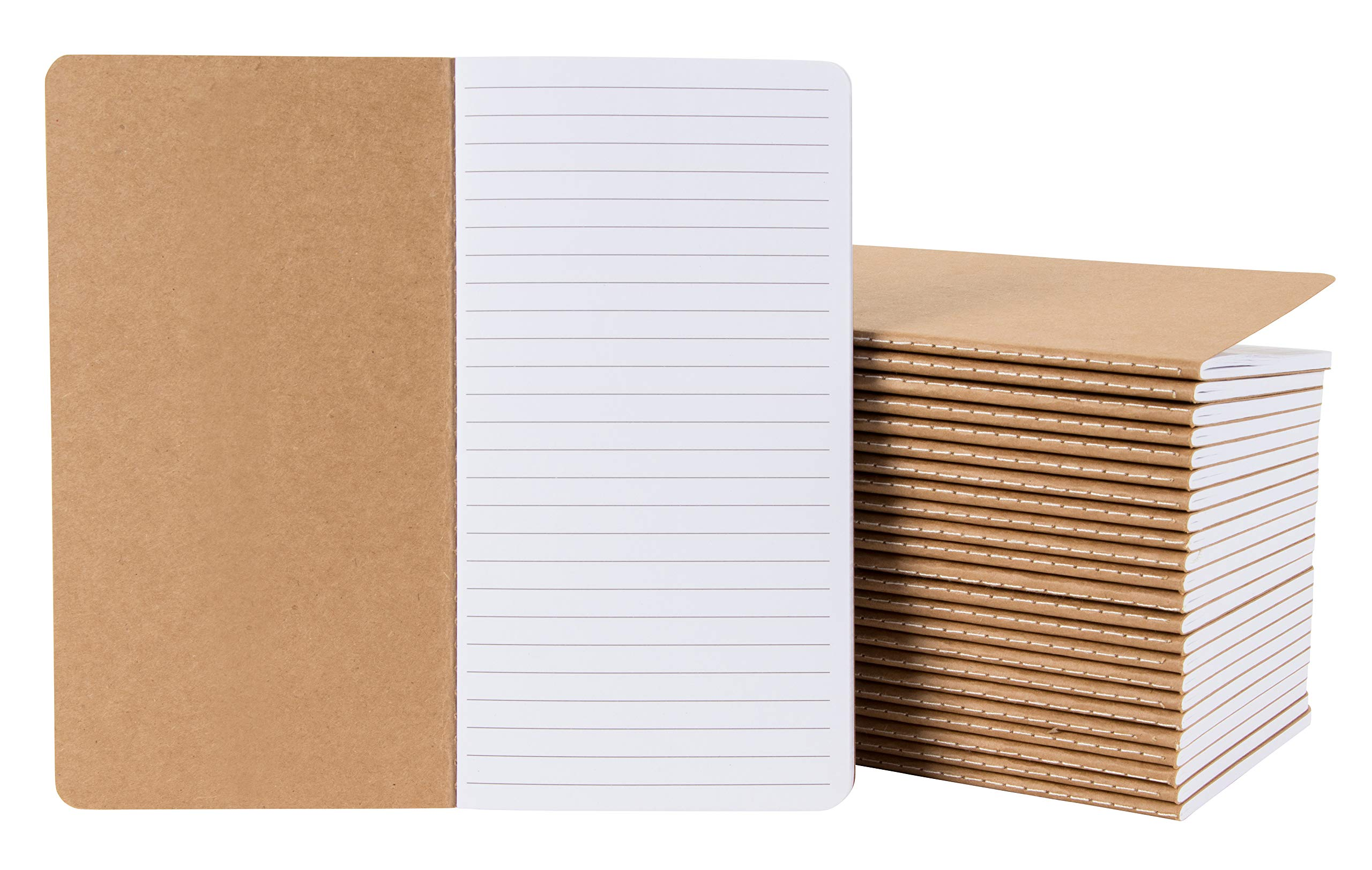 Kraft Notebook - 24-Pack Lined Notebook Journals, Pocket Journal for Travelers, Diary, Notes - H5 Size, Soft Cover Sewn Notebook, Brown, 4.3 x 8.2 Inches