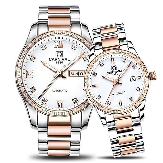 Swiss pareja relojes para hombre y mujer reloj de mecánico automático oro Dial de plata manecillas de diamante Set de 2: Amazon.es: Relojes