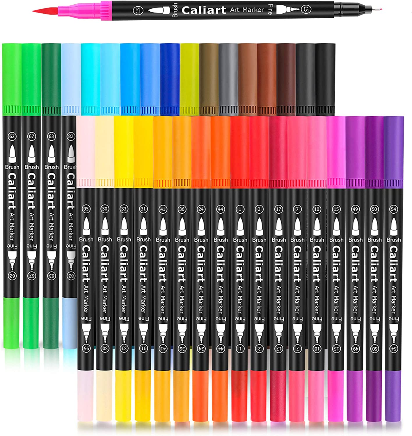 Caliart 34 Dual Brush Pens Art Markers, Artist Fine & Brush Tip Pen Coloring Markers for Kids Adult Coloring Book Bullet Journaling Note Taking Lettering Calligraphy Drawing Pens Craft Supplies