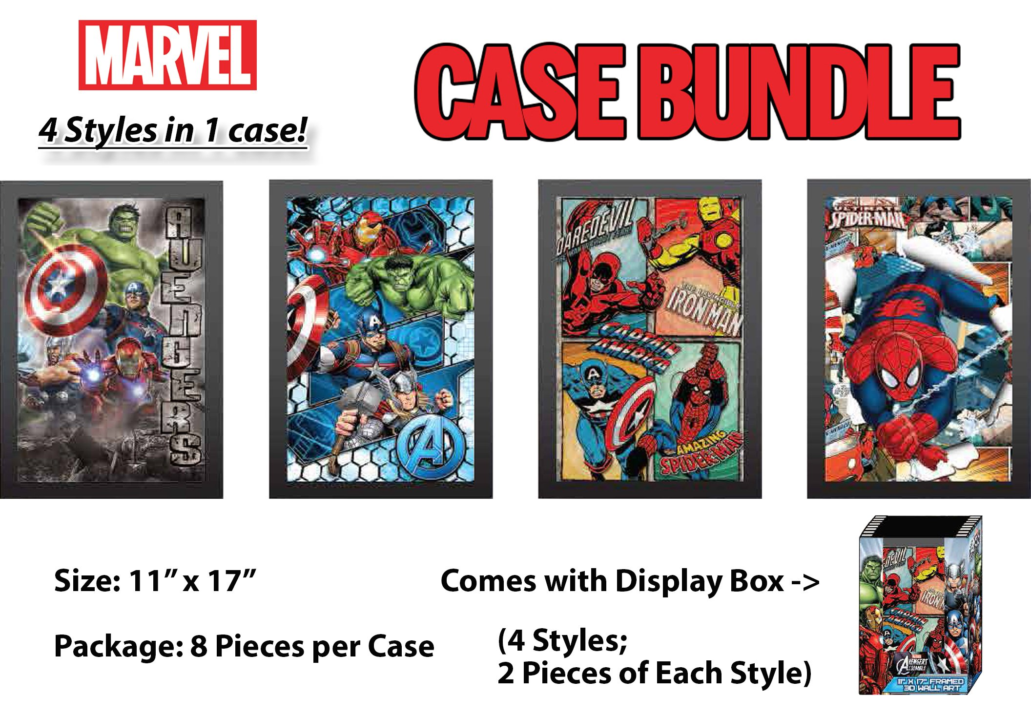 Marvel's Avengers Heroes 3D Picture 11'' x 17'' : ''Captain America Iron Man Thor Hulk Spider-man'' 3D Lenticular Poster Artwork Wall Decor Animated Image Framed w/ Black Frame (Bundle(8 Pieces/4 Styles))