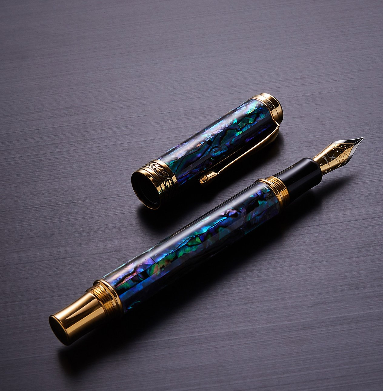 Xezo Maestro Natural Sea Shell Handmade Fountain Pen with 18K Gold Plated Parts. Exquisite Gift. No Two Pens Alike. Fine Nib by Xezo (Image #4)