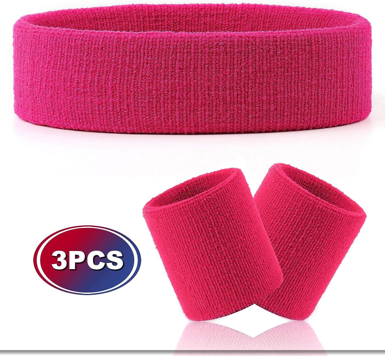 Sports Wristband Sweatband 3 Parts Set Tennis Band Wristband Fitness Headband