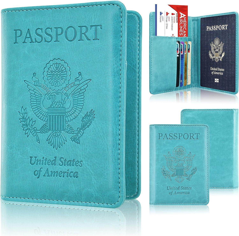 Passport Holder Cover, ACdream Leather RFID Blocking Wallet Case Bag for Family Travel Passport Holder,