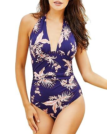 2c640b45fec6f Funnygirl Women's One Piece Swimsuits Tummy Control Swimwear Slimming  Monokini Bathing Suits Backless V Neck Halt