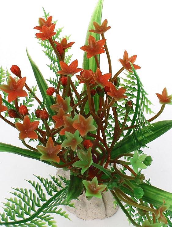 Amazon.com : eDealMax Las plantas de acuario de agua Artificial Decoración 3, 5 pulgadas de alta 2PCS Verde Naranja : Pet Supplies