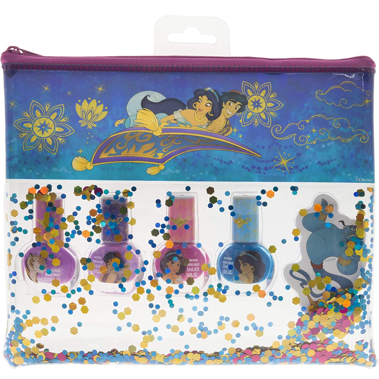 Townley Girl Disney Aladdin Non-Toxic Peel-Off Nail Polish Set with Nail File and Glitter Bag for Girls, Opaque Colors, Ages 3+ (4 Pack)