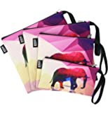 QOGiR Reusable Snack Bags and Sandwich Bags with Handle (Set of 4): Lead-free,BPA-free,PVC-free,FDA PASSED (Elephant)