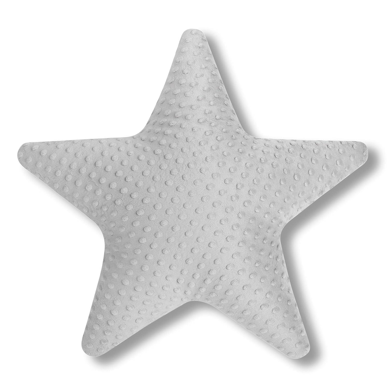 60 cm Amilian Kissen Stern Grau Dekokissen Kuschlig Flauschig ca
