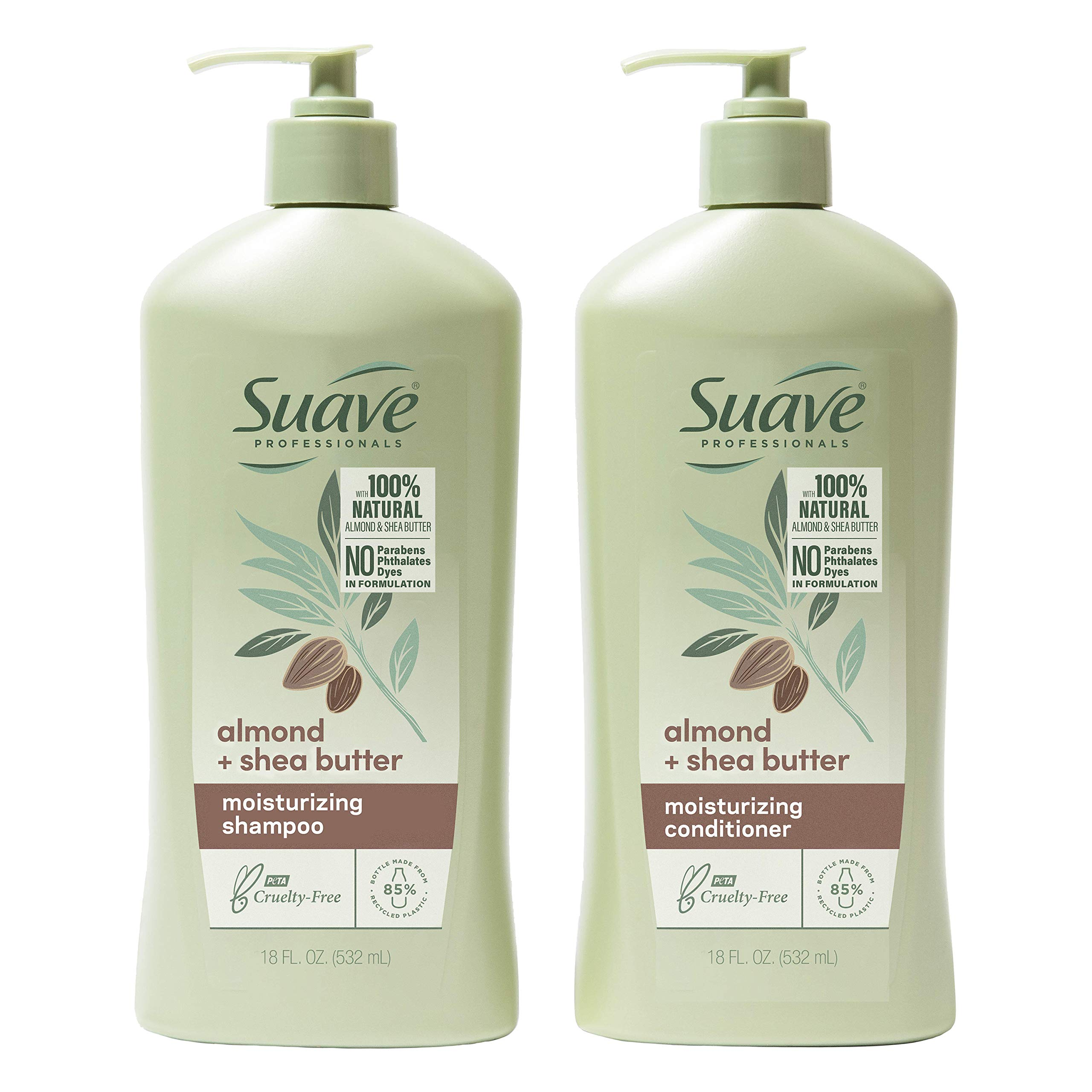 Suave Professionals Moisturizing Shampoo and Conditioner for Dry Hair Almond and Shea Butter Paraben-free and Dye-free 18 oz, 2 Count