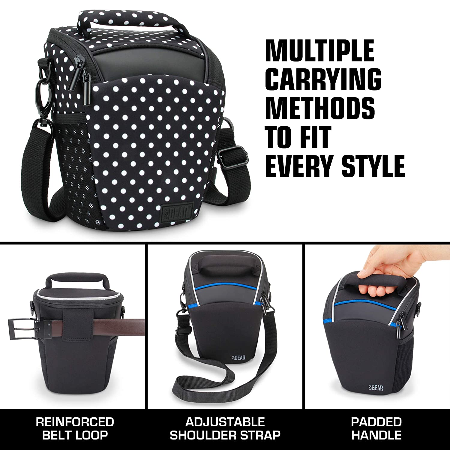 USA Gear Camera Bag Neoprene with Adjustable Shoulder Sling Shoulder Bag with Padded Handle Removable Rain Cover and Weather Resistant Bottom Compatible with Canon Nikon Sony etc Polka Dot