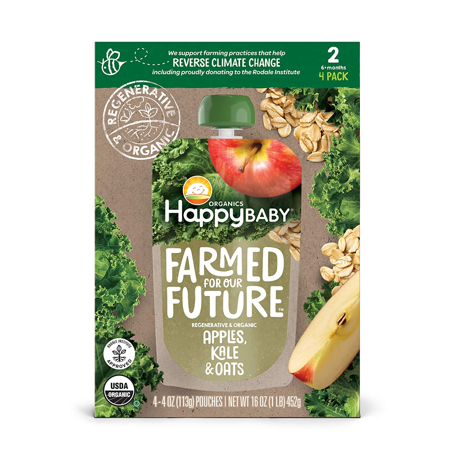 Happy Baby Organics & Regenerative Stage 2 Baby Food, Apples Kale & Oats, 4 Ounce (Pack of 4)