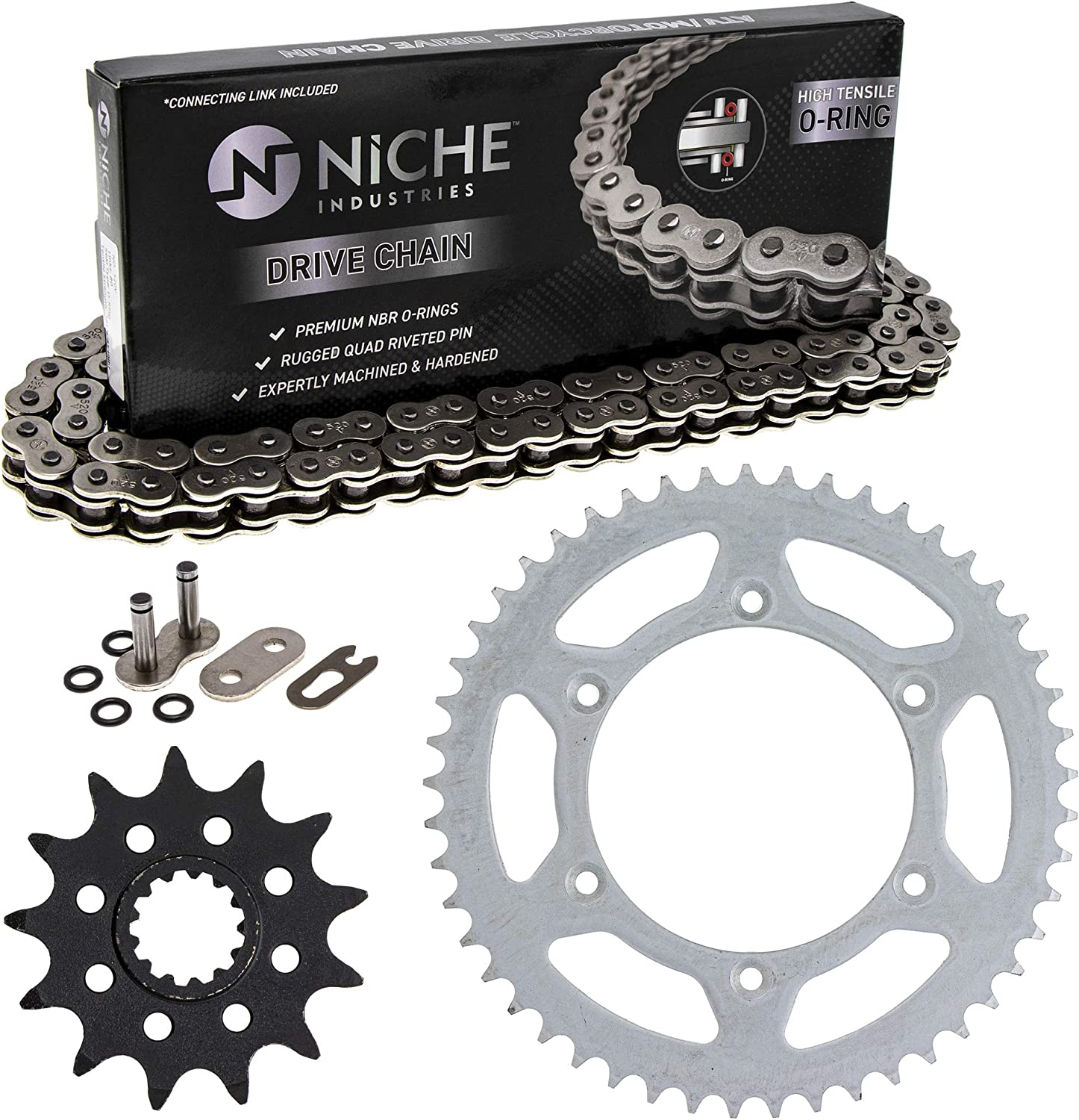 NICHE Drive Sprocket Chain Combo for Suzuki DR250 Front 13 Rear 49 Tooth 520V O-Ring 110 Links