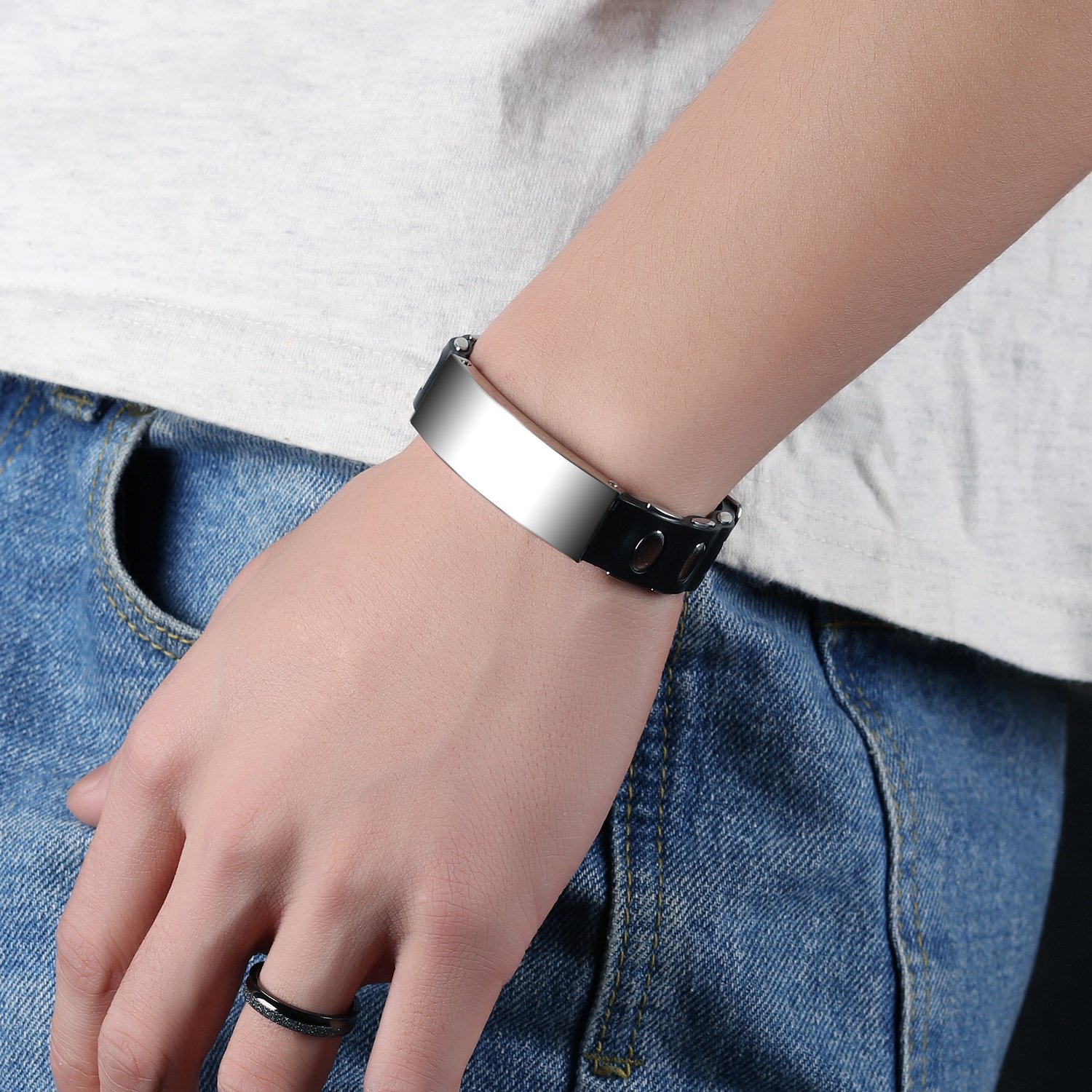 LOHOME Mens Fashion Bracelets Silicone chain Stainless Steel Charm Bracelet for Men