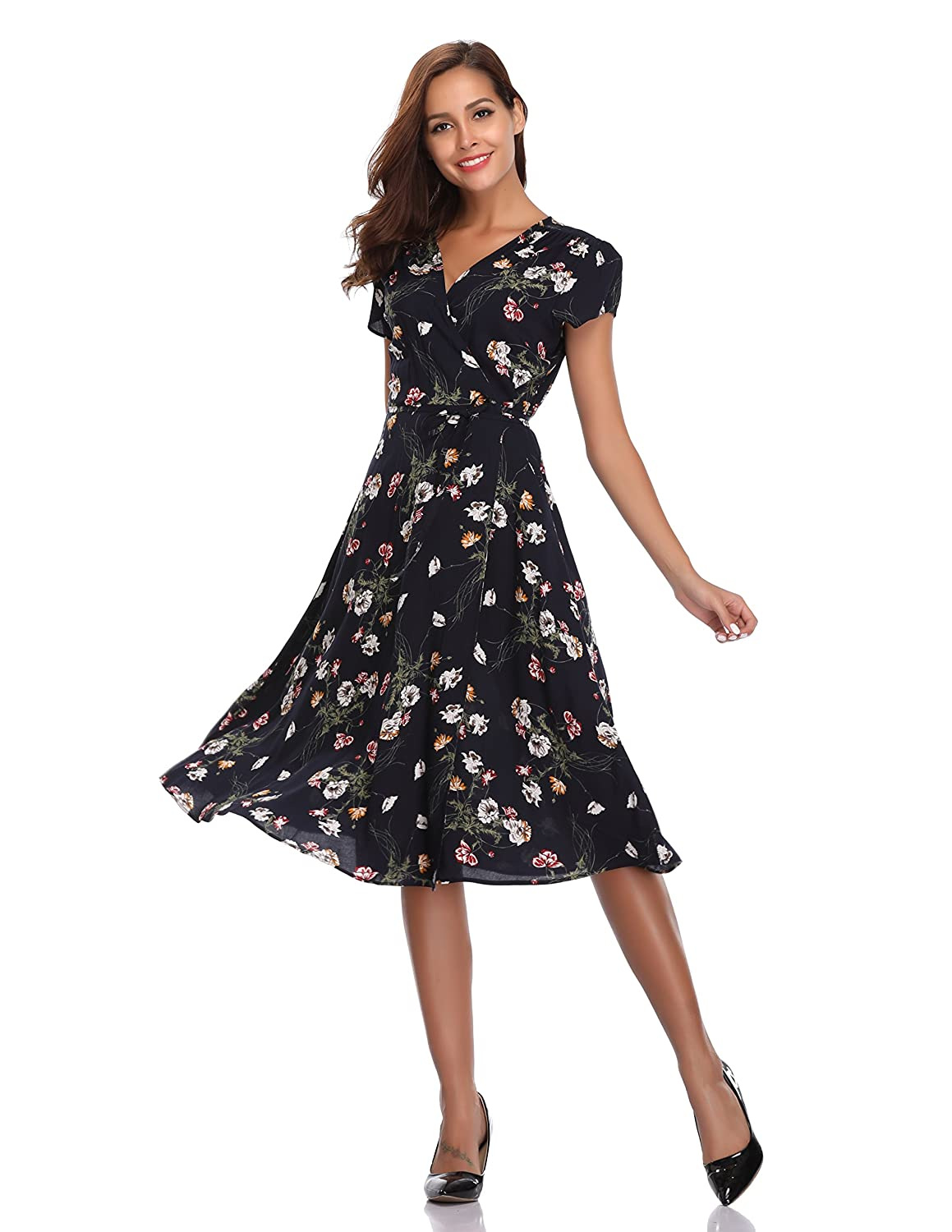 aebc4d9132de Floating Time Women s Floral Print Short Sleeve Midi Wrap Dress(L ...