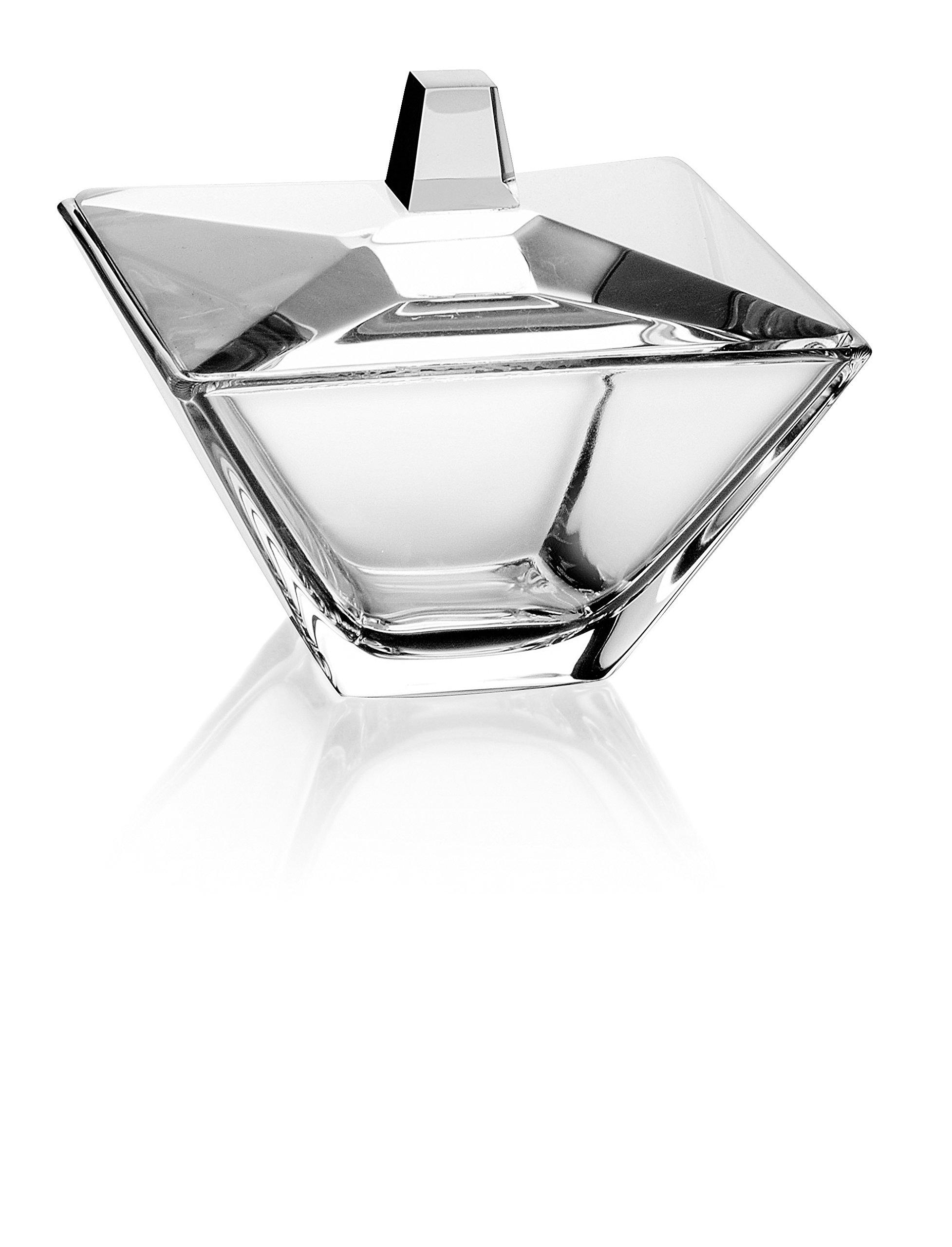 Barski - European Glass - Square - Covered - Candy - Nut - Chocolate - Jewelry - Box - 4.2'' Diameter - Made in Europe
