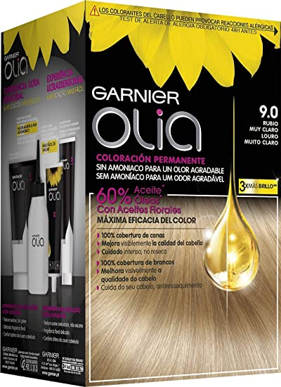 Garnier Olia - Coloración Permanente sin Amoniaco, con Aceites Florales de Origen Natural - Tono 9.0 Rubio Muy Claro