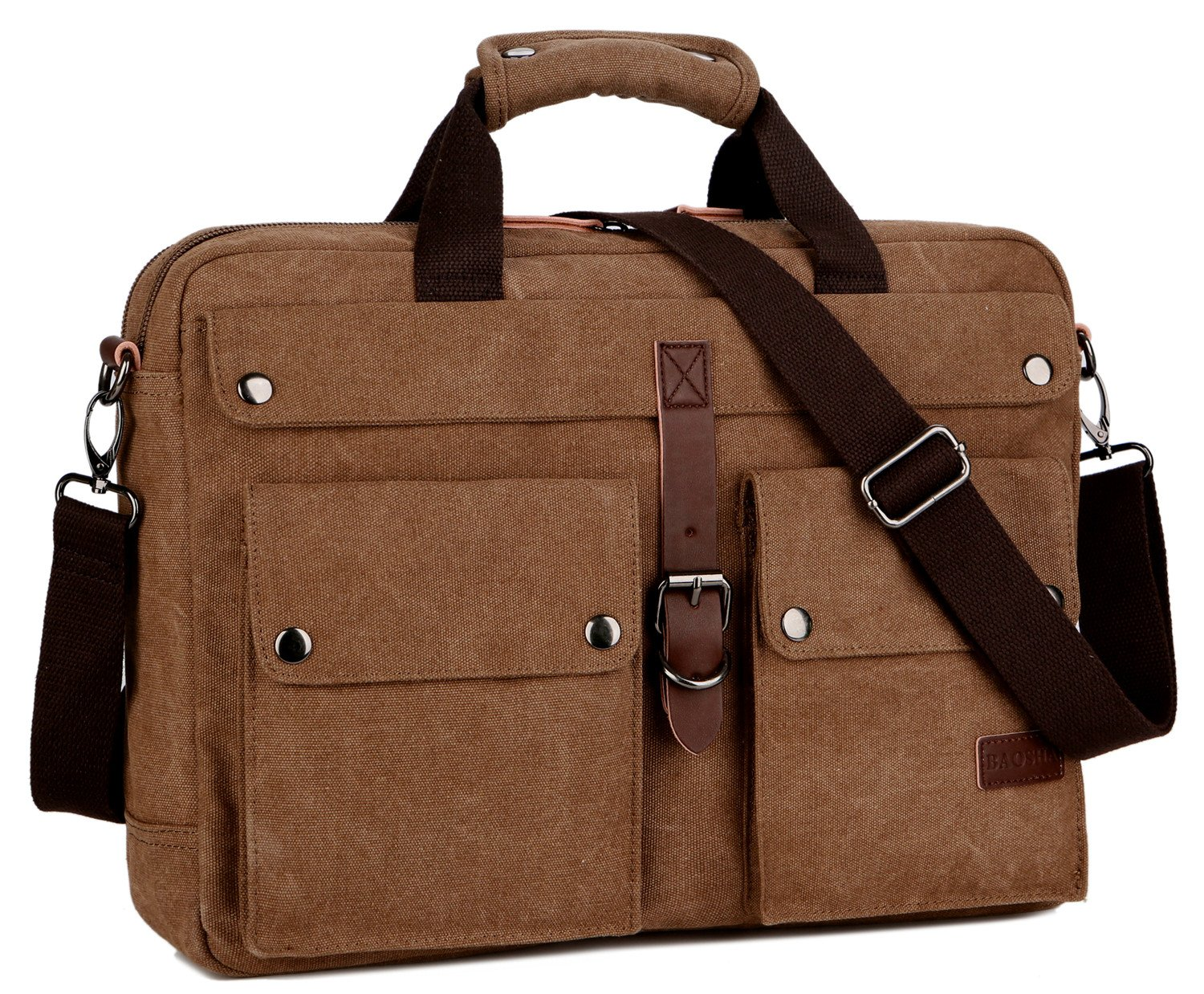 BAOSHA BC-07 17inch Canvas Laptop Computer Bag Messenger Bag Multicompartment Briefcase (Coffee)