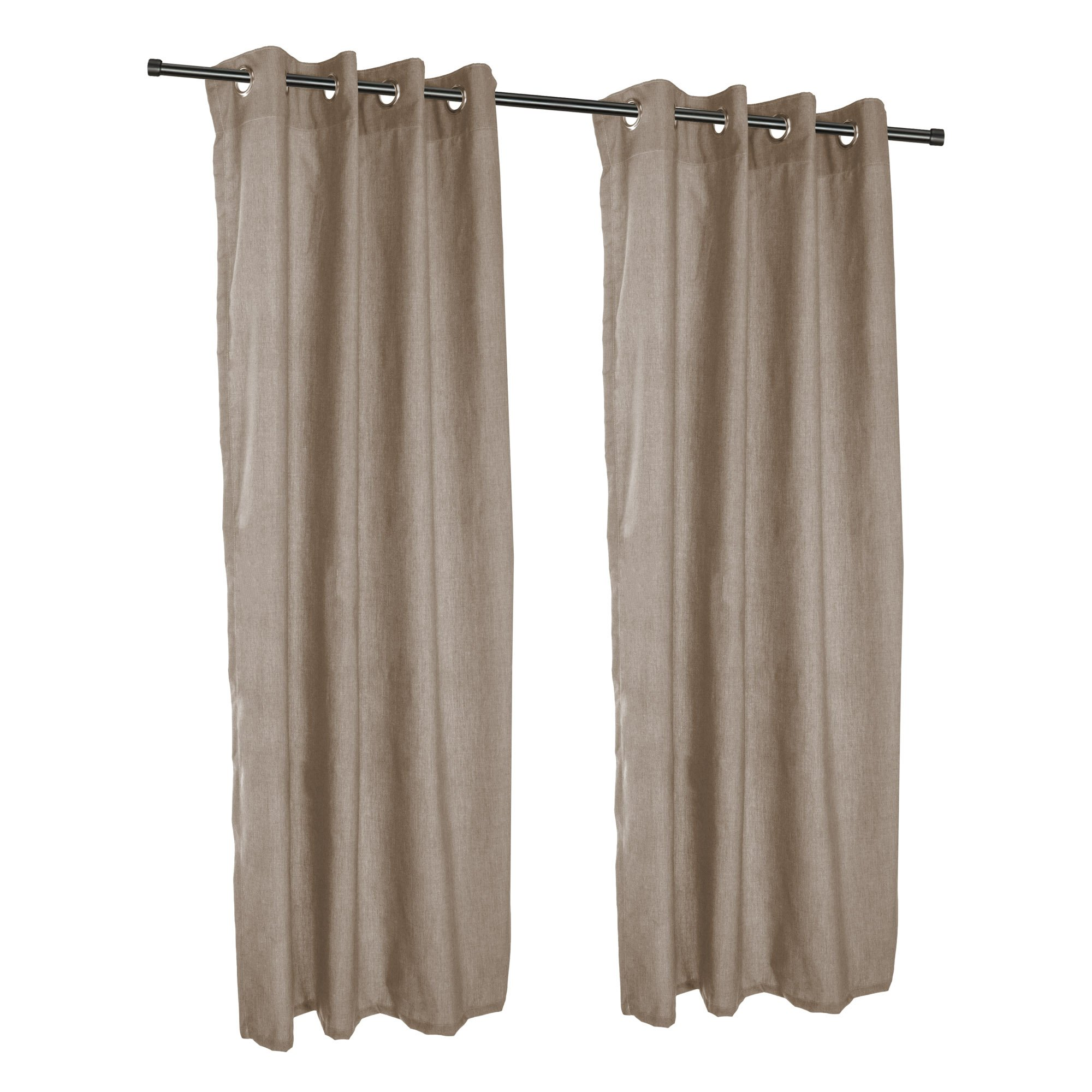 Sunbrella Outdoor Curtain with Nickel Grommets - Cast Shale (50'' W X 96'' L)