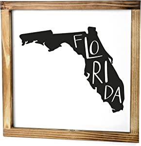 Florida Sign - Rustic Farmhouse Decor For The Home - Florida State Sign, Modern Farmhouse State Gift, Florida Wall Decor, State Souvenir, Rustic Home Decor Sign With Solid Wood Frame 12x12 Inch