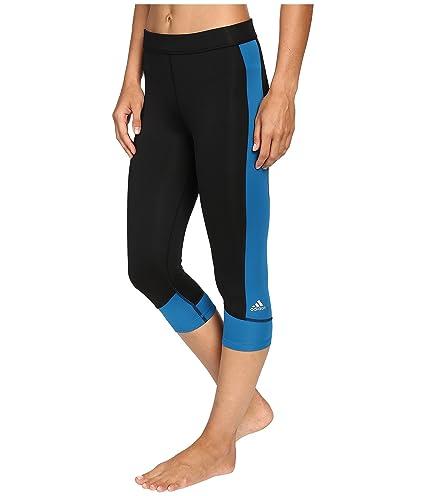 adidas Women's Techfit Capris, Black/Unity Blue, XX-Small