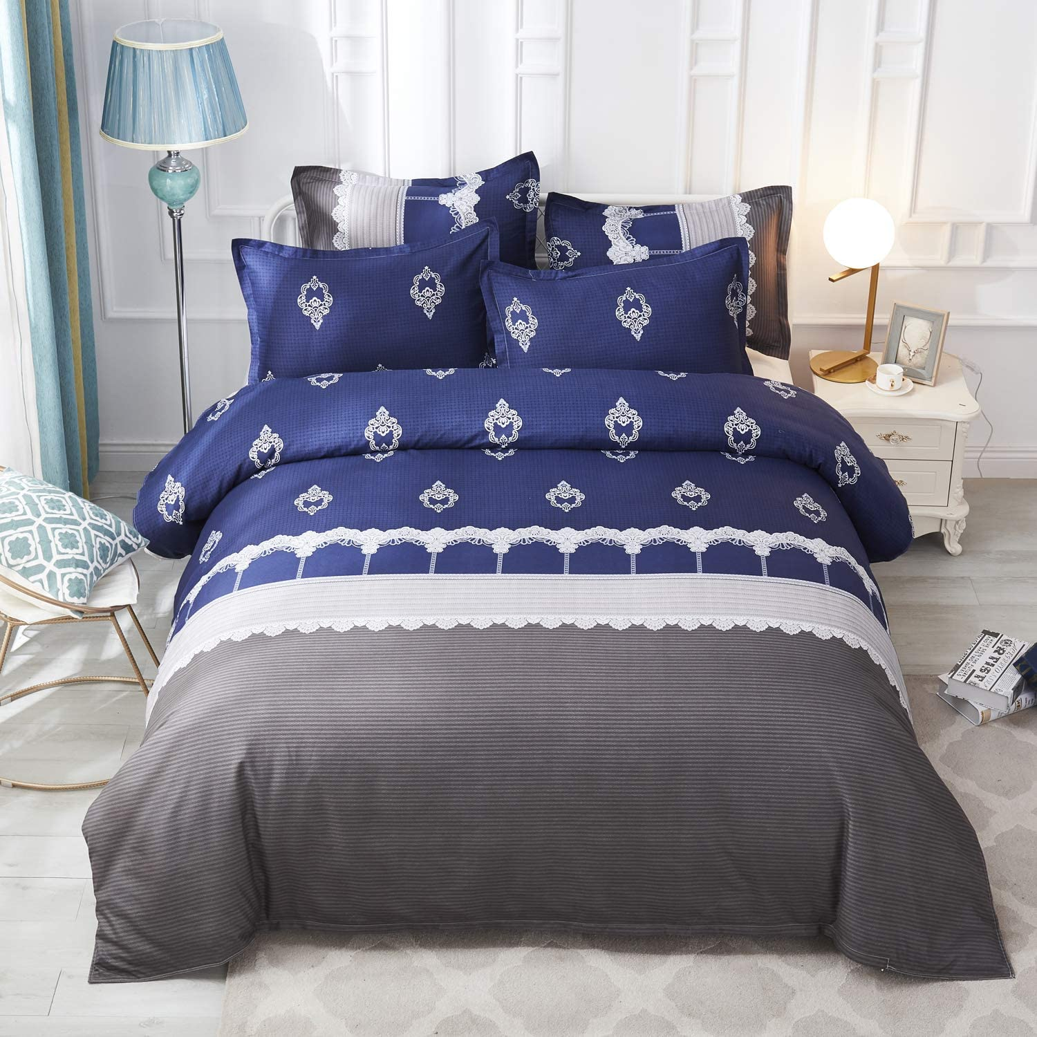 Boho Paisley Bedding, Grey Blue Damask European Pattern Comforter Covet,Soft Retro Jacquard Design Duvet Cover with Zipper Closure for Adult,Men Women,Fashion Embroidery Decor (3pcs, Queen Size)