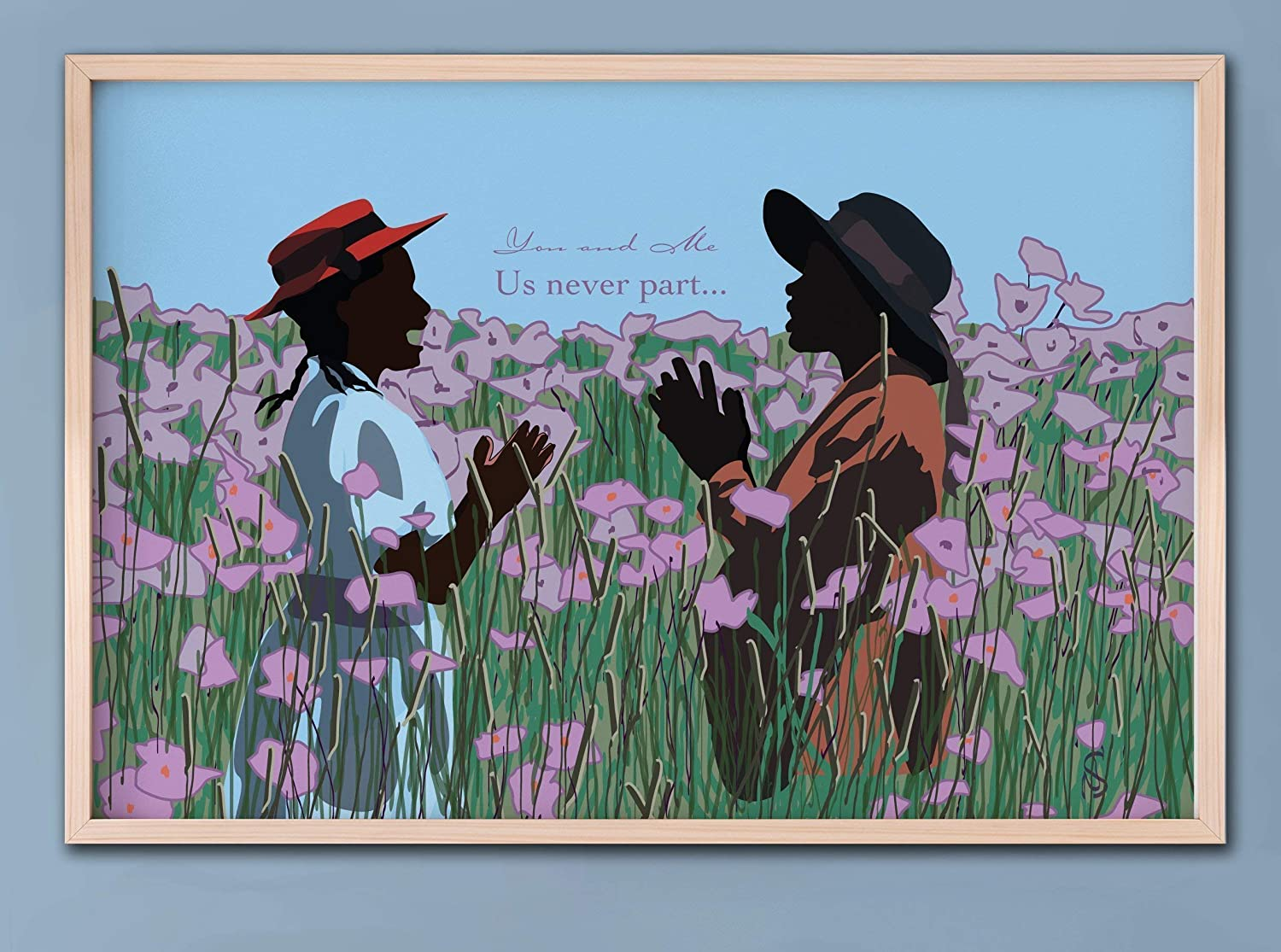 GoodNightOwlDesigns GNODpop - The Color Purple Movie Art Poster- Sisters Play - You and Me Us Never Part, Alice Walker, Classic Movie Print, Feminist Art Print Poster African American Art Decor