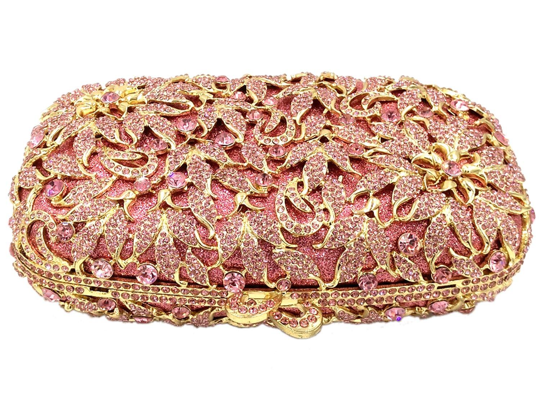 Bolso Mujer Noche Bolsas Fiesta Boda Carteras Brillo Mano Diamantes Cadena Embrague Flores Rojo: Amazon.es: Equipaje