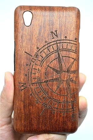 RoseFlower® OnePlus X Funda de Madera - Brújula de Palo de Rosa - Natural Hecha a Mano de Bambú/Madera Carcasa Case Cover con Gratis Protector de ...