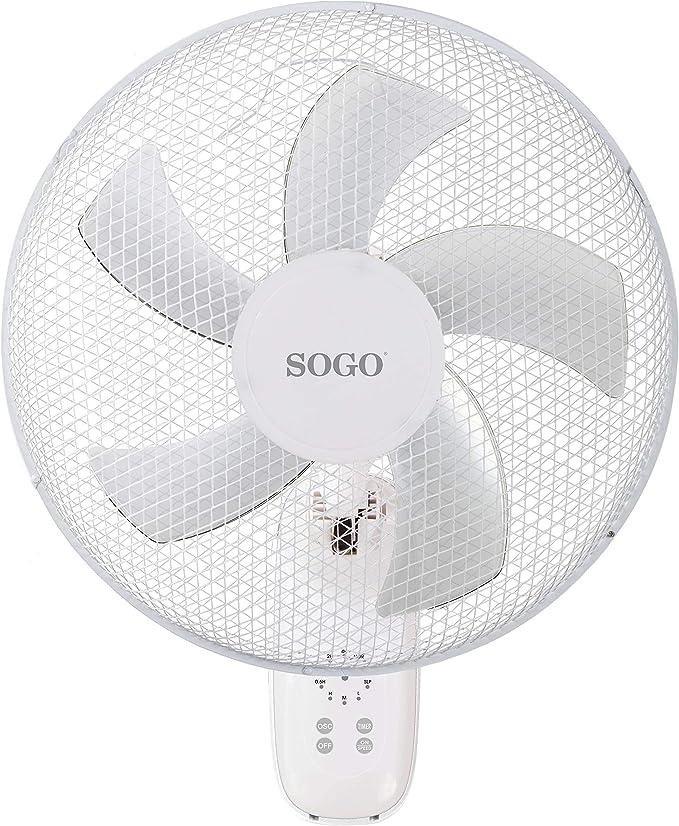 SOGO Ventilador de Pared con Mando a Distancia 45 W - 40 cms. (16 ...