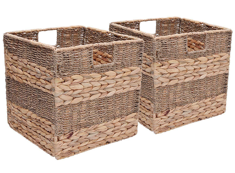 StorageWorks Seagrass & Hyacinth Woven Storage Baskets, Foldable Wicker Storage Basket Organizer, Medium,10.2''x10.2''x10.6'', 2-Pack, Extra - Gift Lining