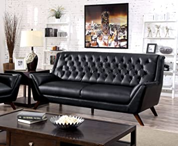 Furniture of America Aster Retro Sofa, Black