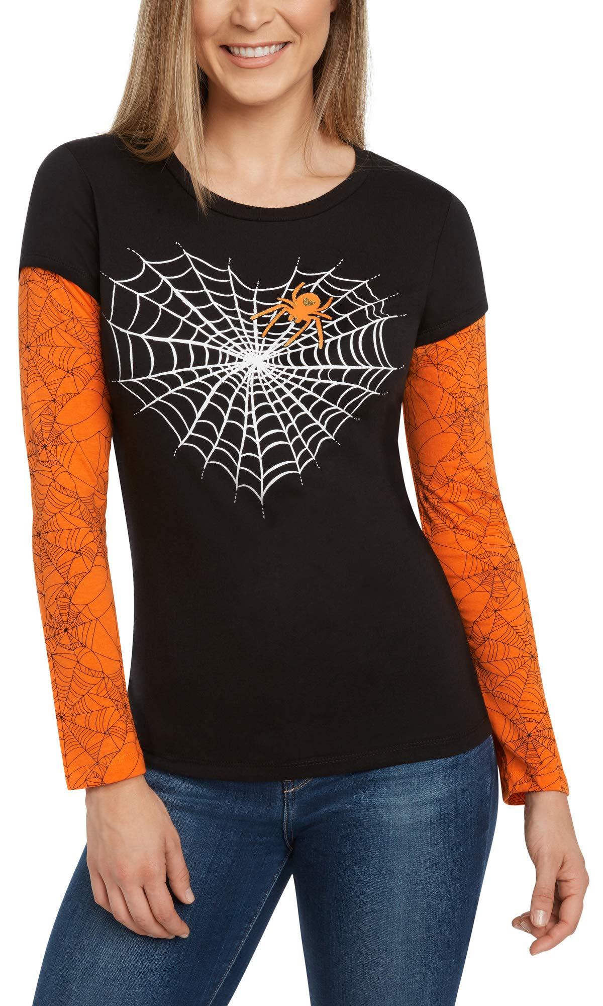 Modern Lux Halloween Spiderweb Junior T-Shirt Long Sleeve Glitter Print (Black, Small)