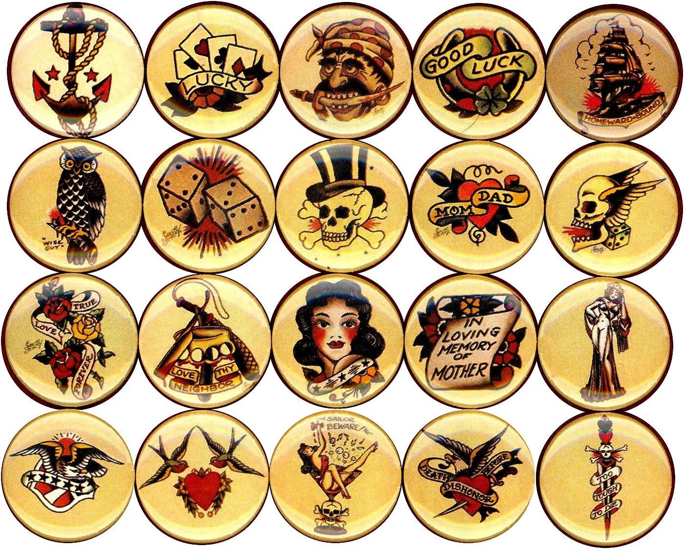 Pánico Botones Flash Tatuaje Arte Pin Set de 20 1