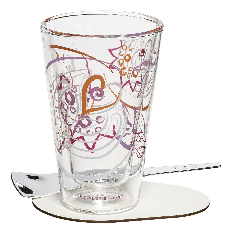 8.3 cm schwarz//wei/ß Glas RITZENHOFF A Cuppa Day Macchiatoglas
