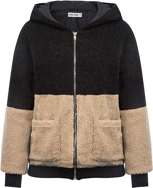 GRACE KARIN Damen Winter Mantel Sweatjacke Naketano Jacke