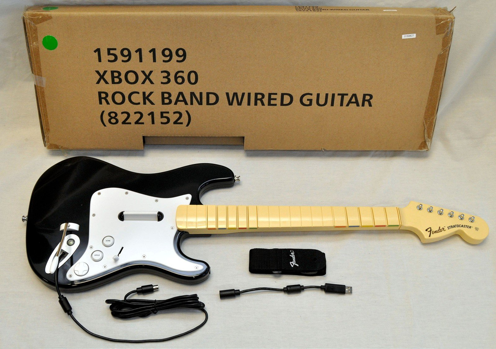 Harmonix OFFICIAL Rock Band 1 Wired Fender Stratocaster Guitar Controller for Xbox 360, Black by Harmonix (Image #1)