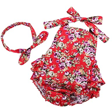 Fubin Baby Girl's Floral Print Ruffles Romper Summer Clothes with Headband 0-6 Months Red