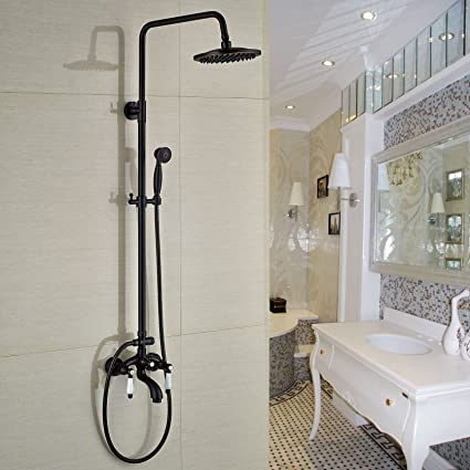 shower heads that connect to the faucet. Rozin Luxury Bathroom Tub Shower Faucet Set 8 Inch Rain Head With  Hand Sprayer Oil