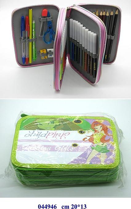 Set escolar de guardería: estuche para lápices completo; 3 compartimentos, con lápiz de regla y tijeras pequeñas., color Verde: Amazon.es: Bricolaje y herramientas