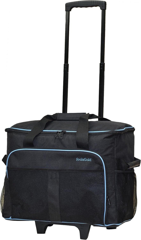 foolsGold bolsa/carrito con ruedas profesional acolchonado para maquina de coser - Gris oscuro/azul