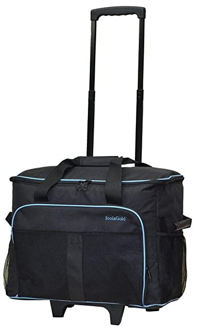 be771cae58 foolsGold Pro Thick Padded Sewing Machine Trolley Bag Carry Case on Wheels  - Charcoal Blue  Amazon.co.uk  Kitchen   Home