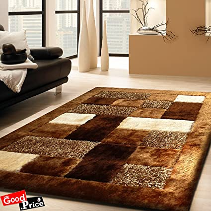 Good Price Multicolor Modern 5D Shaggy Rugs, Long Lasting, Carpets For Living Room, Hall/Drawing Room - Brown, Size 20X32 Inch